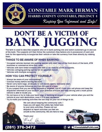 Don't be a victim of bank jugging
