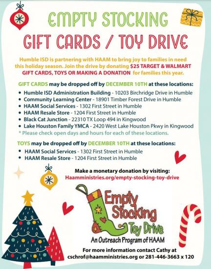 Humble ISD Partners  with HAAM this Year for Toy Drive